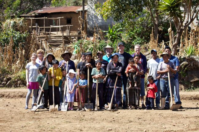 whole group with shovels