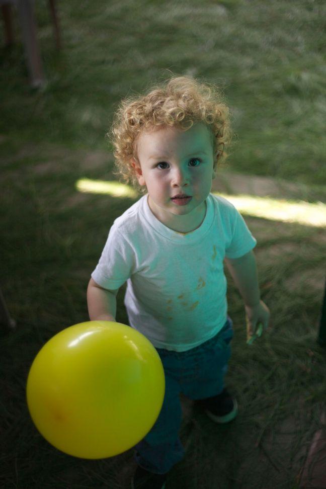 Ezra with Balloon