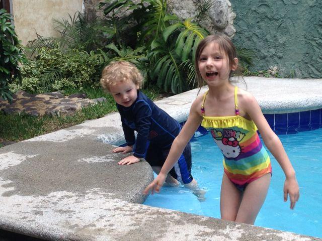 kids at pool in Antigua