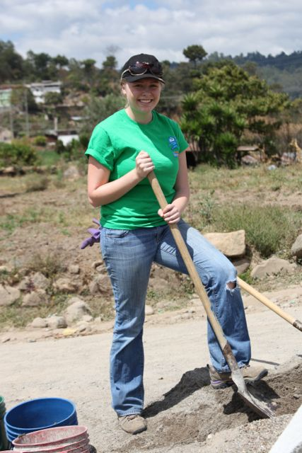 Kiley with shovel