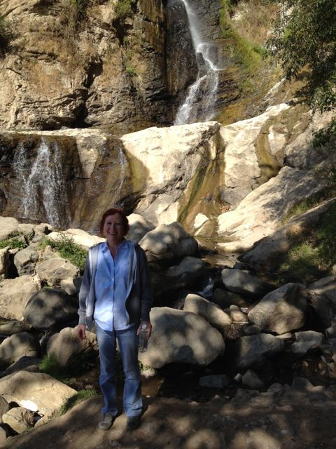 mom at waterfall