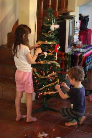 Abra and Ezra busy decorating