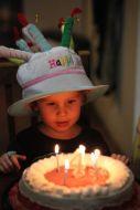 Ezra with his ice-cream cake and birthday boy hat
