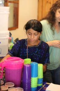 Juana getting some Rosa de Jamaica tea