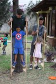 Kids having fun on the Joe's stilts