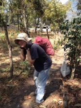 Me carrying rock the Guatemalan way