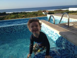 Ezra loving the pool