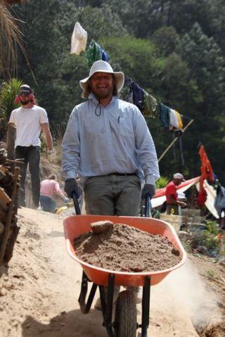 Peter hauling dirt