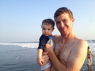 Salem's and Ezra's first time to the Ocean.