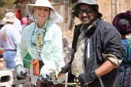 Penny and Harish tying steel