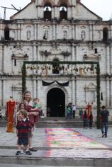 Amber and kids in front of the Catholic church in Panajachel
