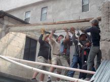 Taking out a beam from the old house